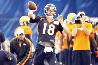 <!--:es-->Impresiona Manning en campamento Bronco …Manning no se involucraba en acción real de juego, desde que participó en el Pro Bowl, que se realizó después de la temporada 2010 La primera práctica completa en 18 meses del nuevo mariscal de campo de los Broncos de Denver, Peyton Manning, uniformado y con protección, causó furor entre sus entrenadores y compañeros de equipo.<!--:-->