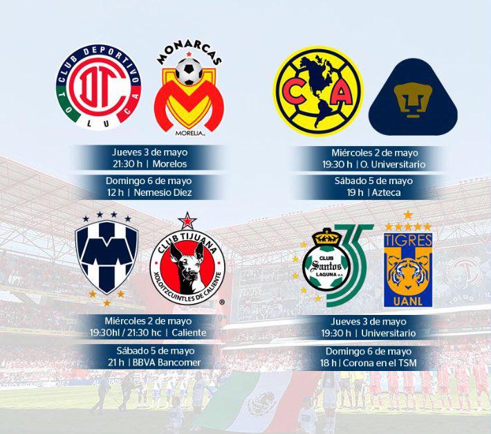Así se jugarán los cuartos de final del Torneo Clausura 2018 de la  Liga MX. Días y horarios