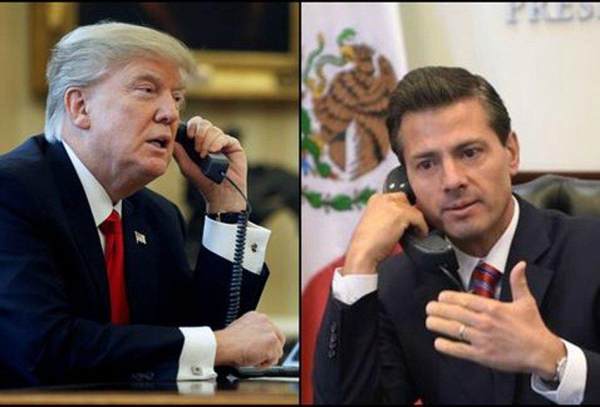 """Trump dice que México """"disfrutará"""" pagando por el muro fronterizo  y Peña Nieto responde: """"""""NO. México NUNCA pagará por un muro"""""""