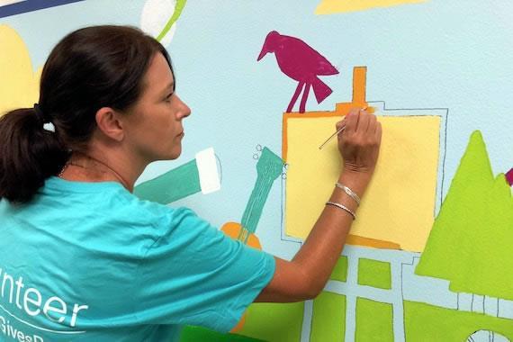 Volunteers beautify elementary school to inspire creativity