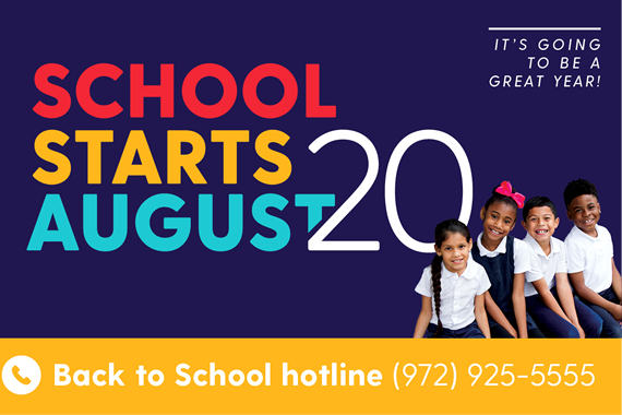 School Start August 20  –  It's  Going to be a Great Year!