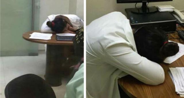 Exhiben en redes a practicante  dormida en Urgencias del IMSS