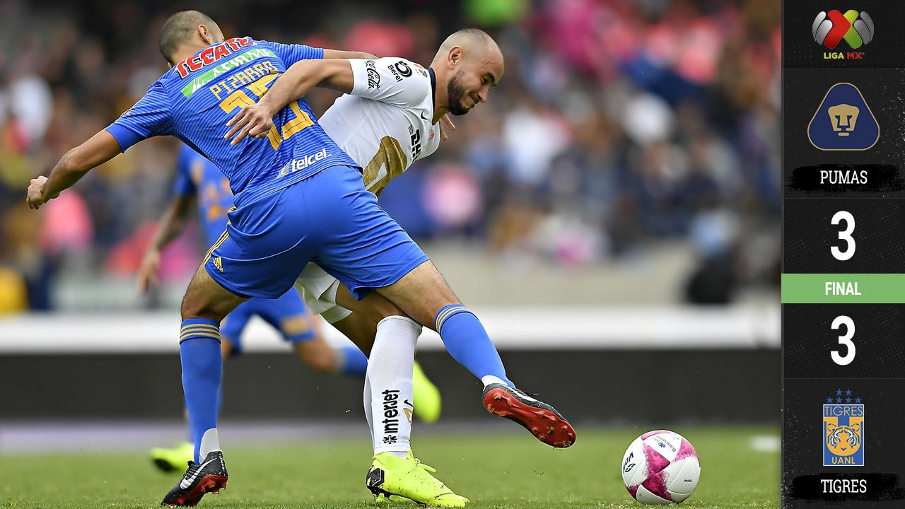 Pumas y Tigres empatan en uno de los mejores partidos de todo el Apertura 2018