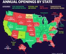 Los trabajos en EEUU con más   ofertas vacantes en cada estado