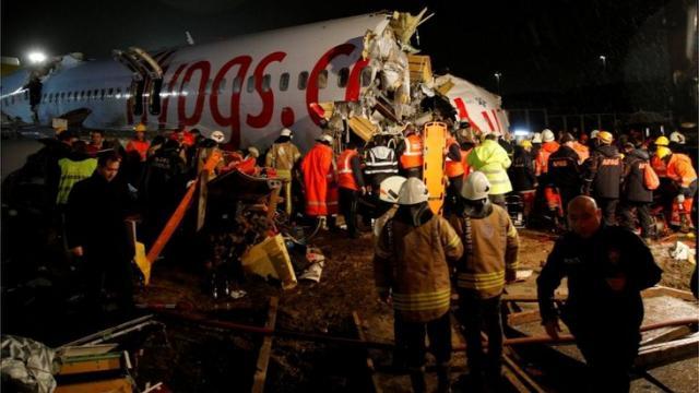 Accidente en Estambul: un Boeing 737 con 177 personas a bordo  se sale de la pista y se parte en tres al aterrizar en Turquía