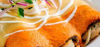 Enchiladas de Camarón Encebollado y Salsa Chipotle