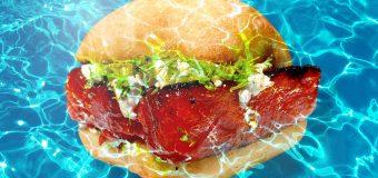 Hamburguesas de sandía a la parrilla con queso de cabra  y gremolata de hinojo y naranja carbonizada